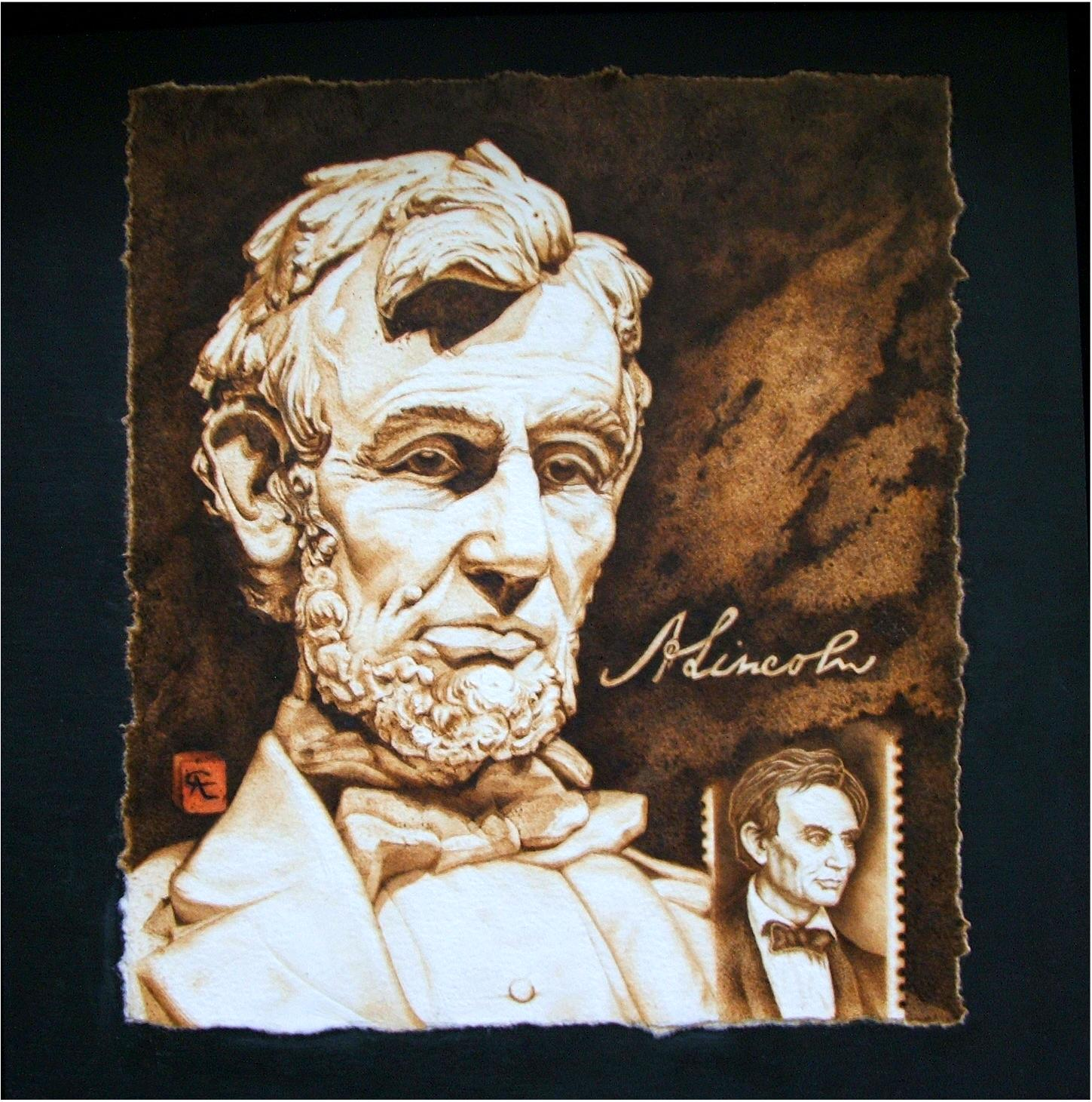 Pyrographic creations of Abraham Lincoln and the Lincoln Memorial